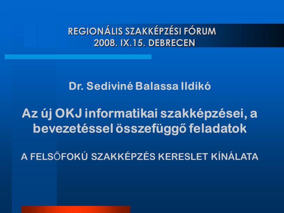 REGIONÁLIS SZAKKÉPZÉSI FÓRUM 2008. IX.15. DEBRECEN