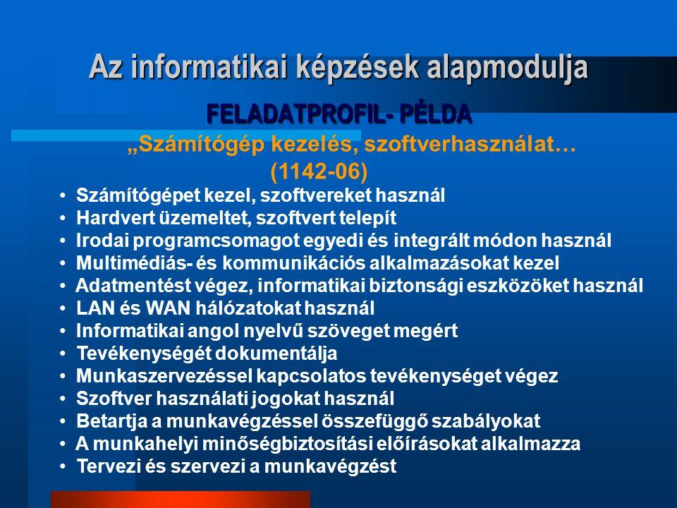 Az informatikai képzések alapmodulja FELADATPROFIL- PÉLDA