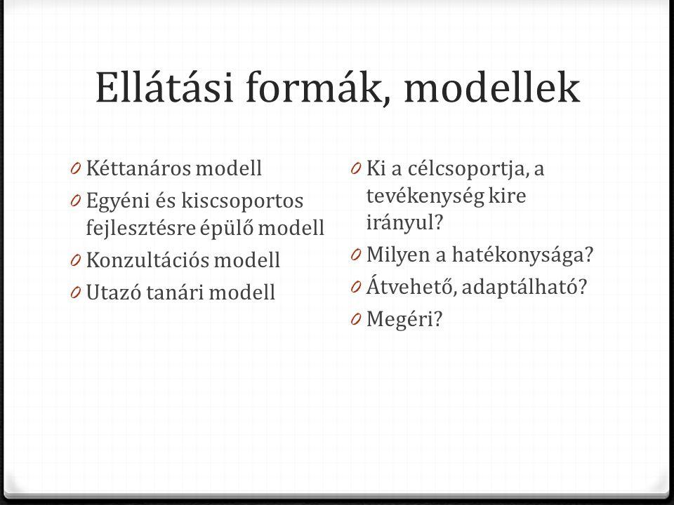 Ellátási formák, modellek