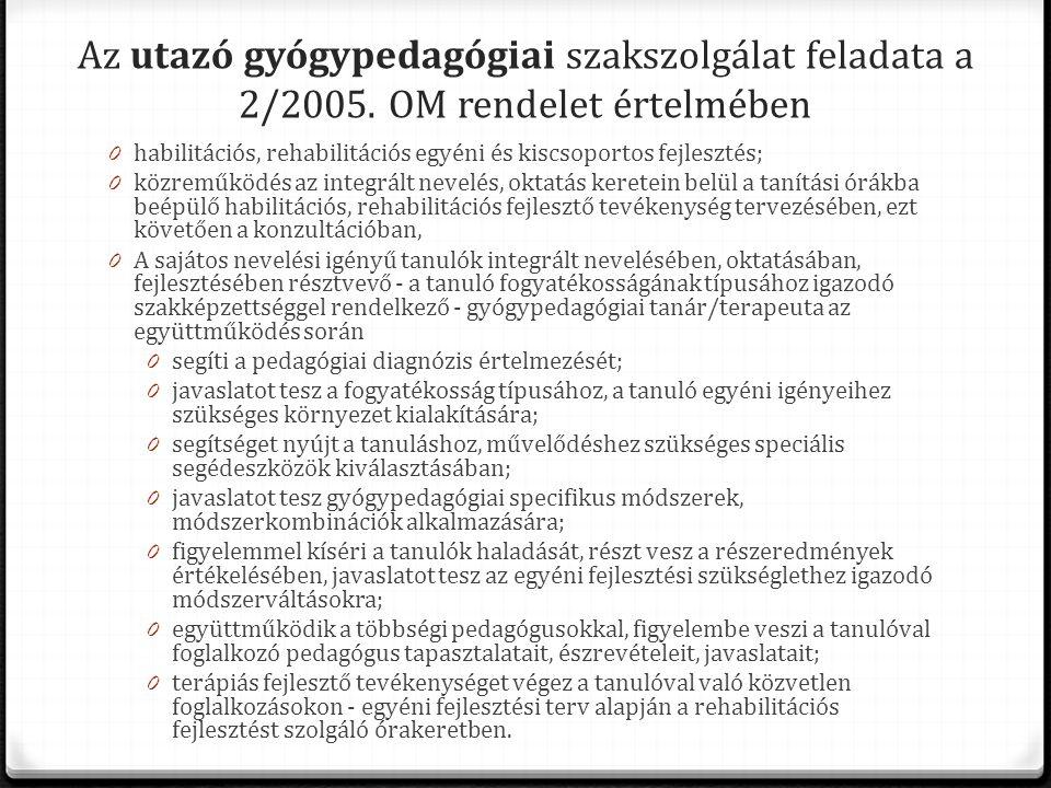 Az utazó gyógypedagógiai szakszolgálat feladata a 2/2005