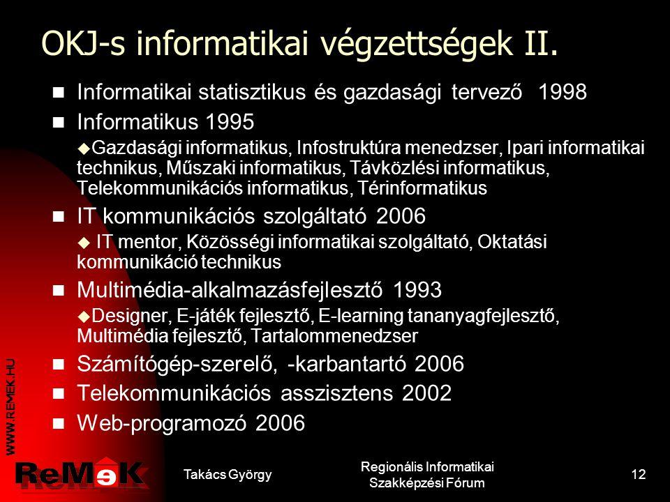 OKJ-s informatikai végzettségek II.