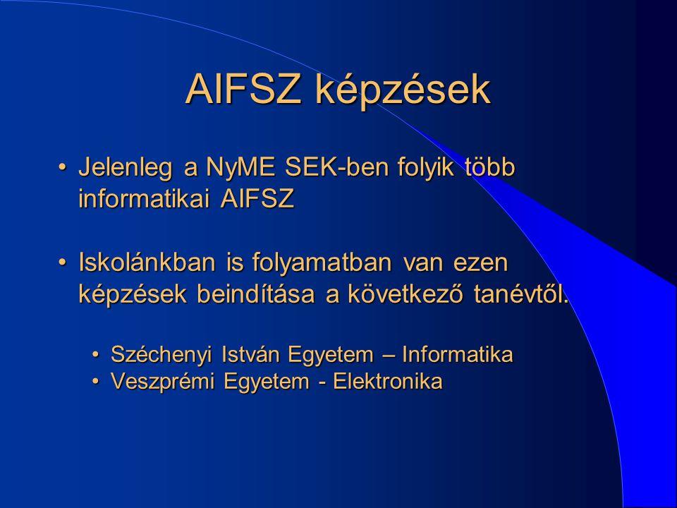 AIFSZ képzések Jelenleg a NyME SEK-ben folyik több informatikai AIFSZ