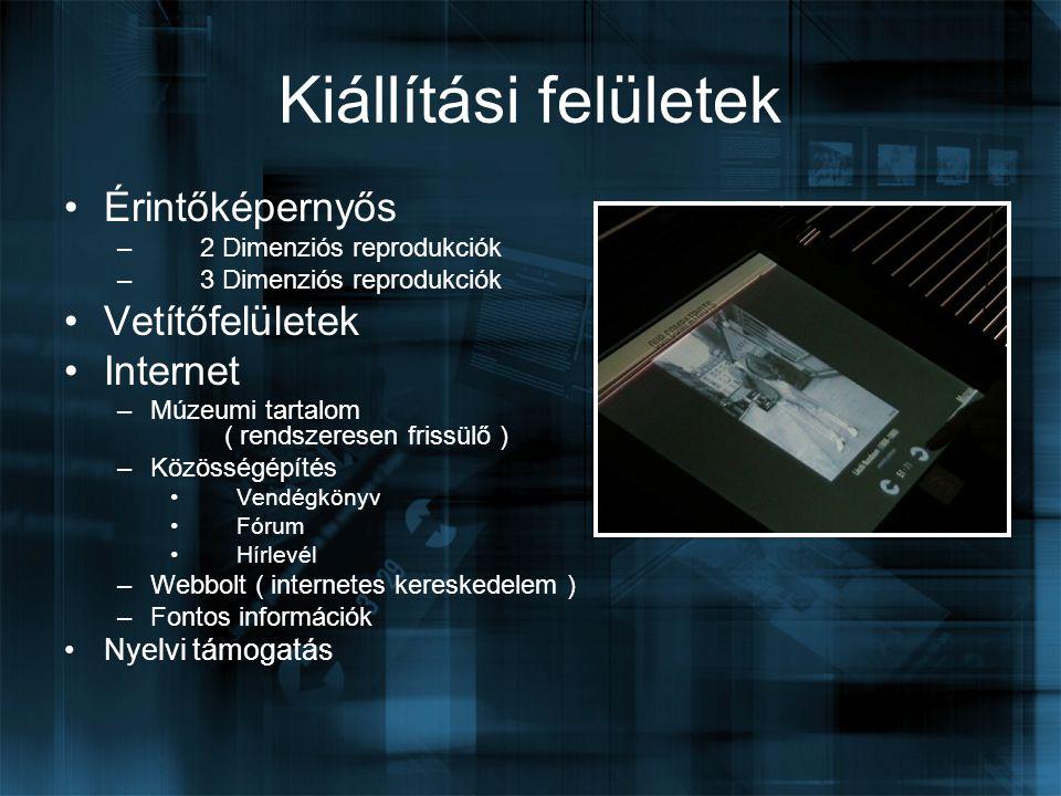 Kiállítási felületek Érintőképernyős Vetítőfelületek Internet
