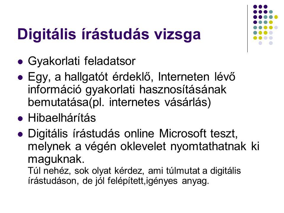 Digitális írástudás vizsga