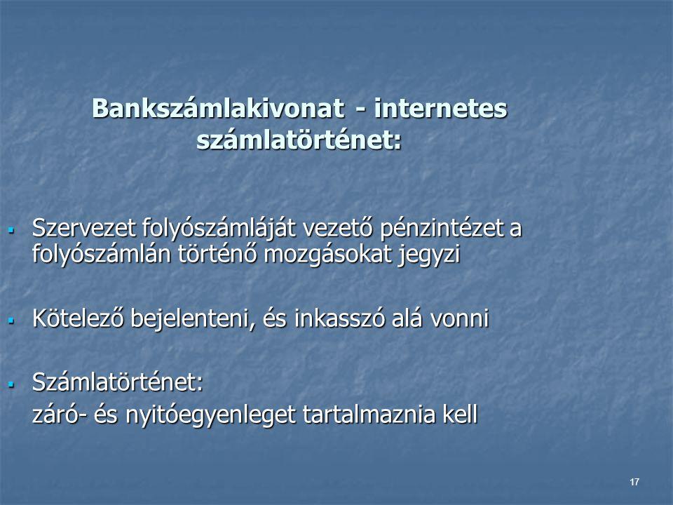 Bankszámlakivonat - internetes számlatörténet: