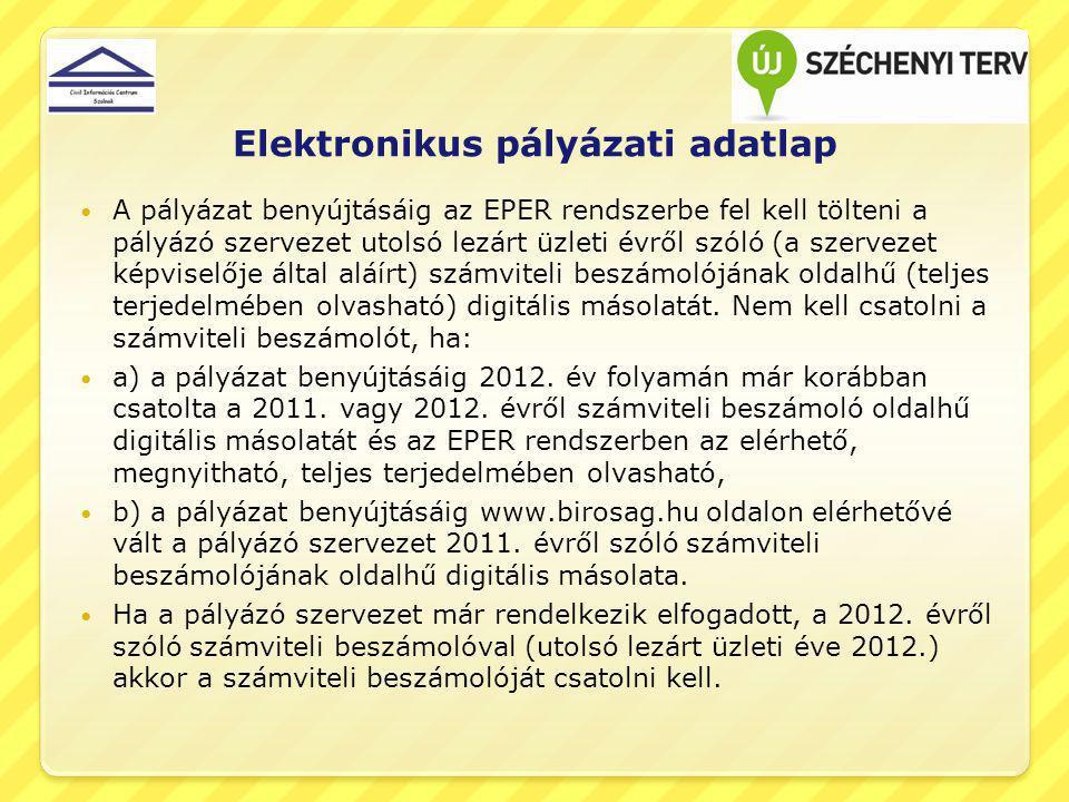 Elektronikus pályázati adatlap