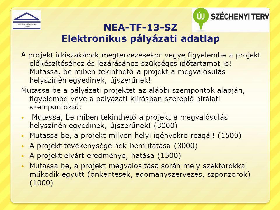 NEA-TF-13-SZ Elektronikus pályázati adatlap