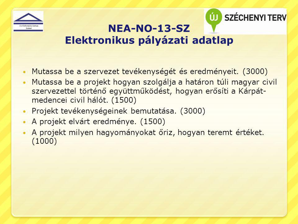 NEA-NO-13-SZ Elektronikus pályázati adatlap