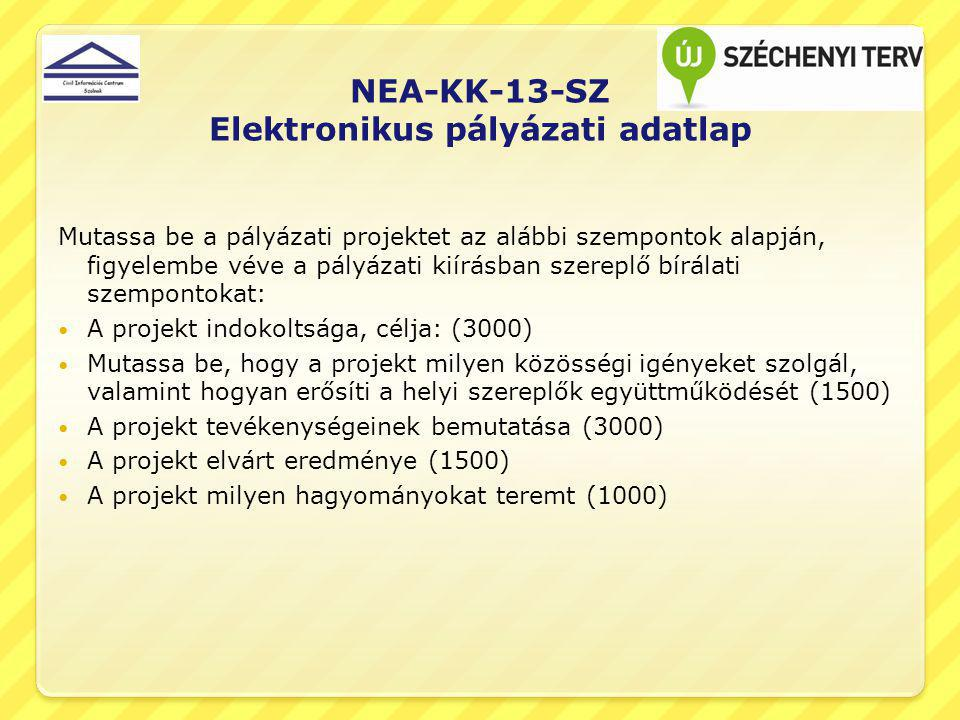 NEA-KK-13-SZ Elektronikus pályázati adatlap
