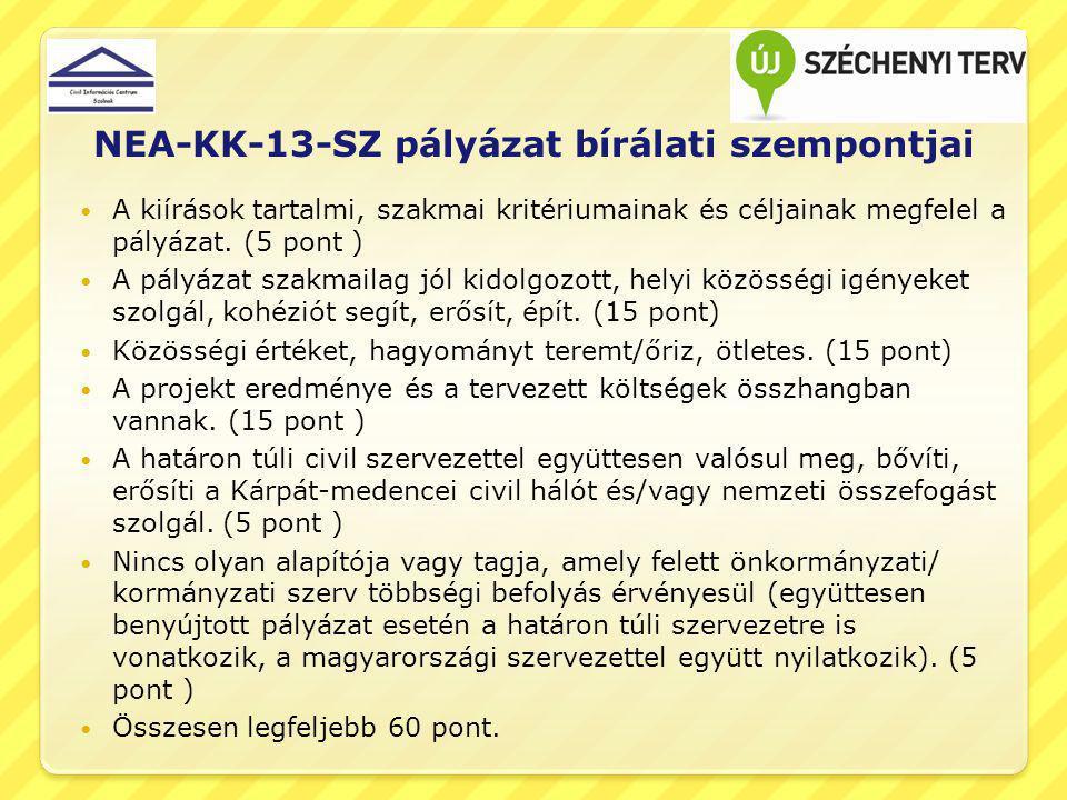 NEA-KK-13-SZ pályázat bírálati szempontjai