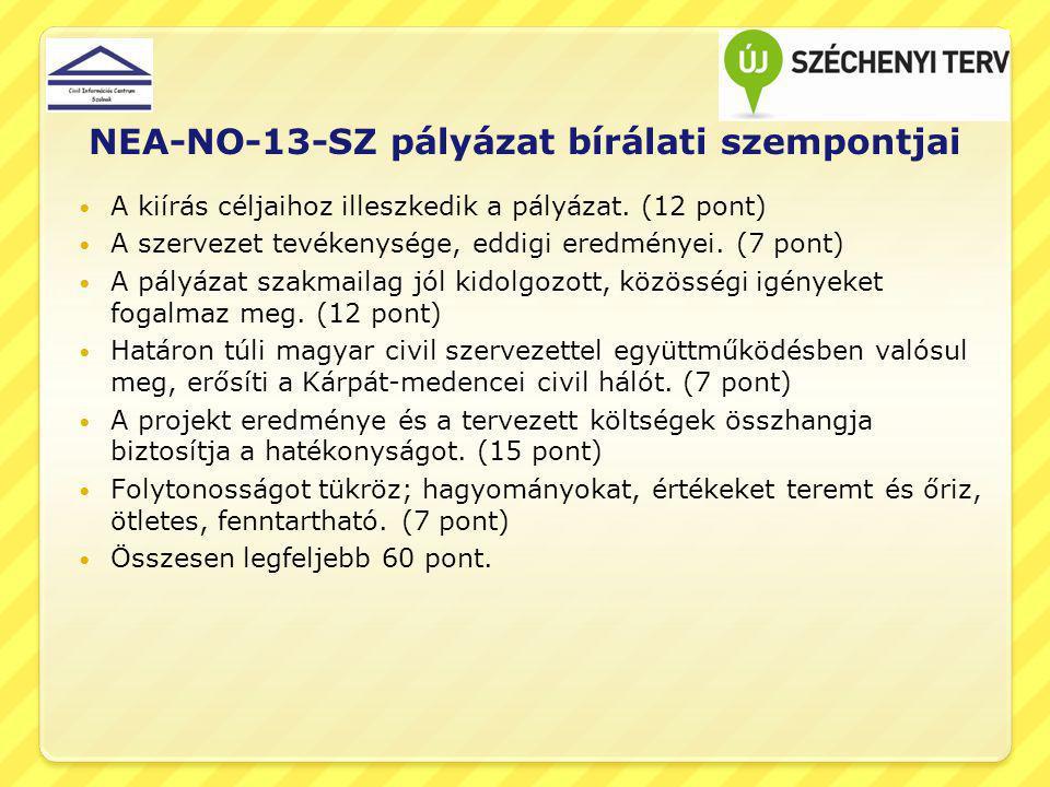 NEA-NO-13-SZ pályázat bírálati szempontjai