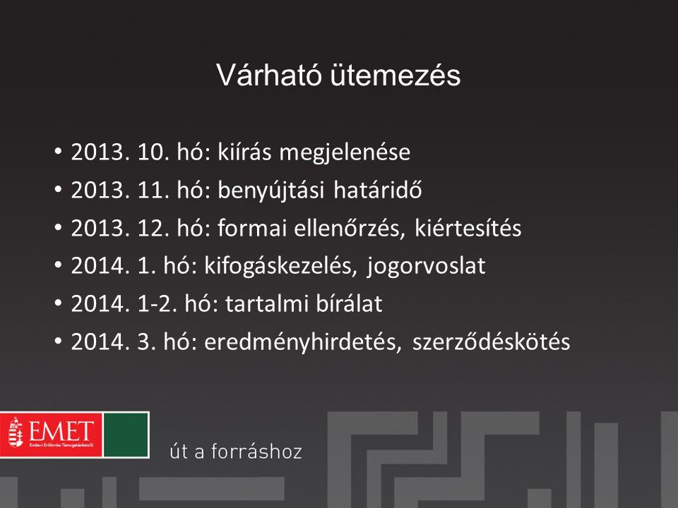 Várható ütemezés 2013. 10. hó: kiírás megjelenése