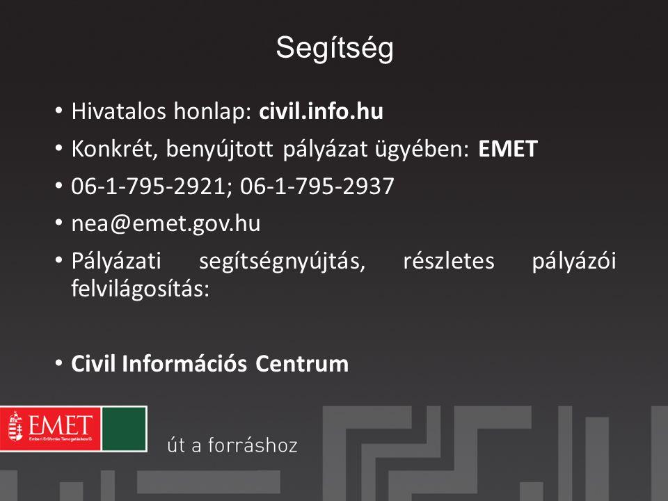 Segítség Hivatalos honlap: civil.info.hu