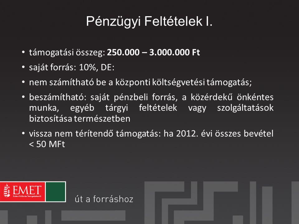 Pénzügyi Feltételek I. támogatási összeg: 250.000 – 3.000.000 Ft