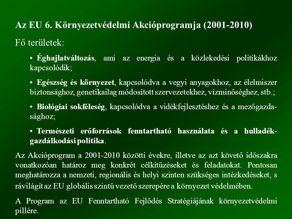 Az EU 6. Környezetvédelmi Akcióprogramja (2001-2010) Fő területek:
