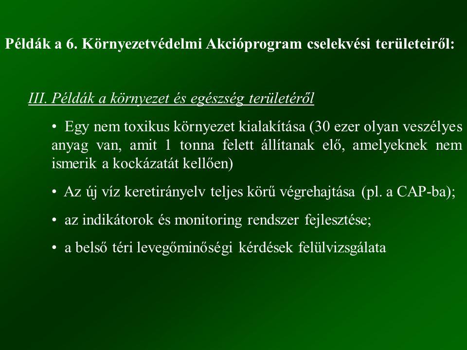 Példák a 6. Környezetvédelmi Akcióprogram cselekvési területeiről:
