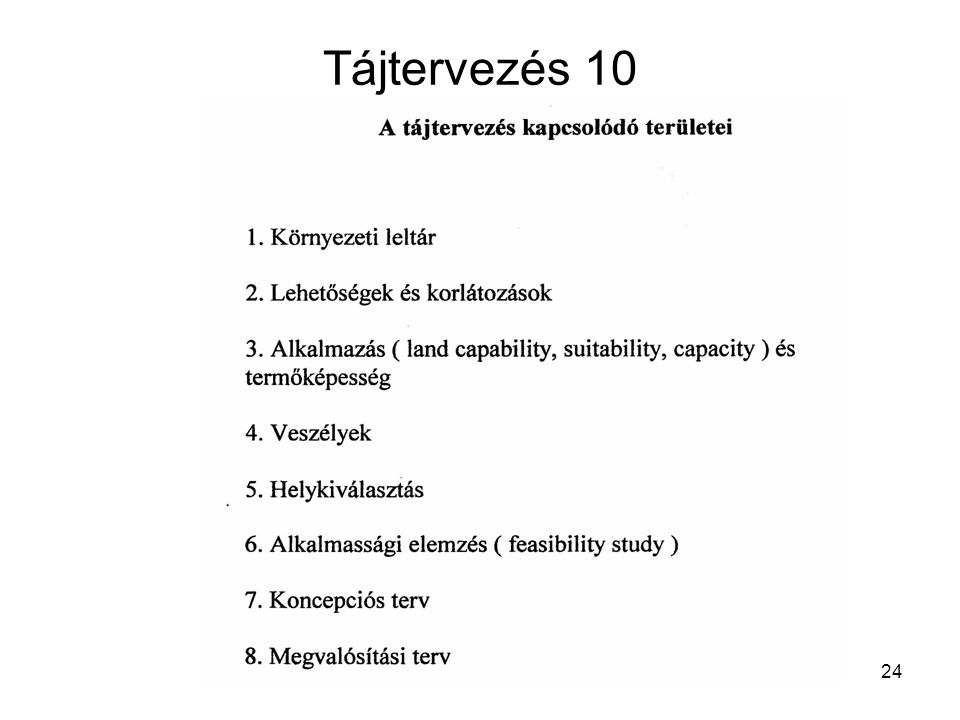 Tájtervezés 10 Kapcsolódó területek