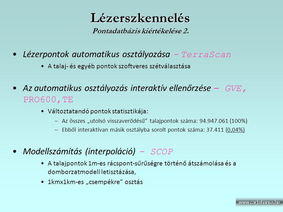 Lézerszkennelés Pontadatbázis kiértékelése 2.
