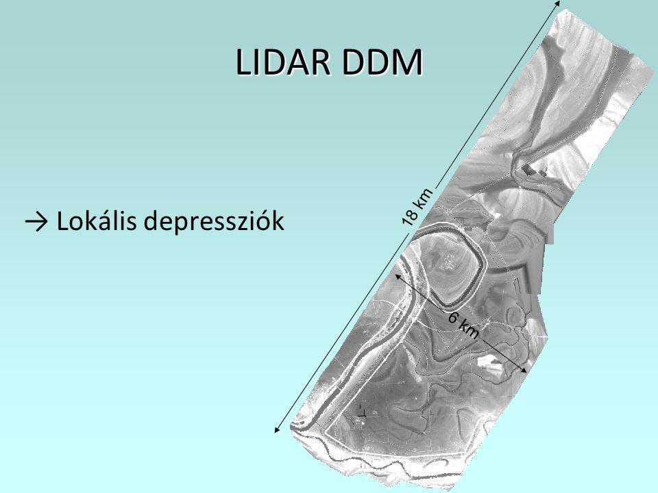 18 km LIDAR DDM → Lokális depressziók 6 km