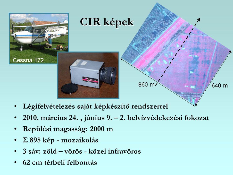 CIR képek Légifelvételezés saját képkészítő rendszerrel