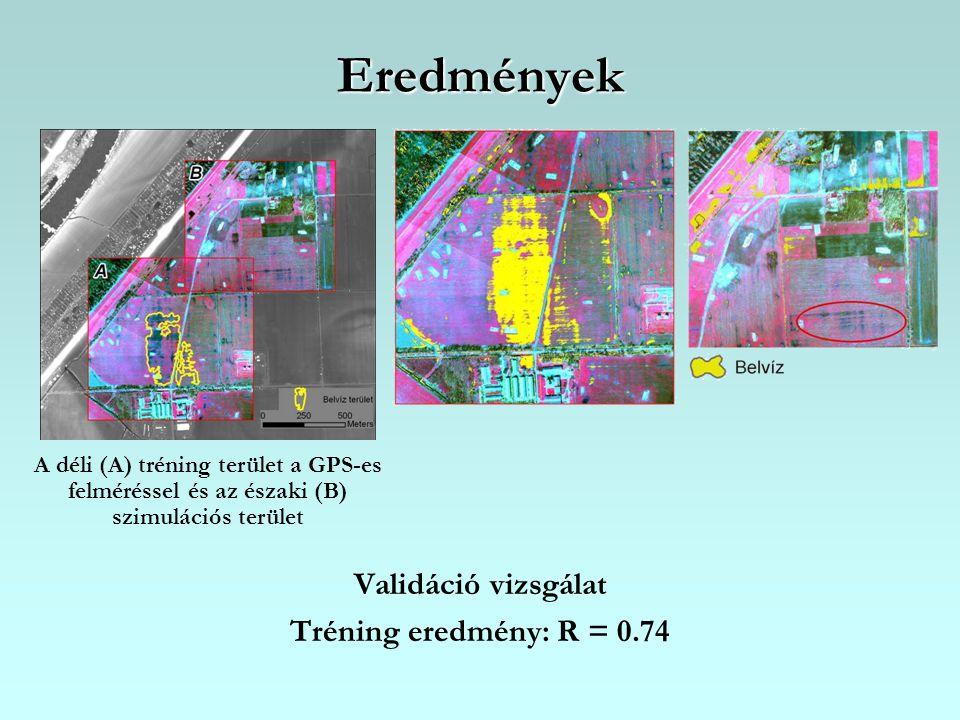 Eredmények Validáció vizsgálat Tréning eredmény: R = 0.74