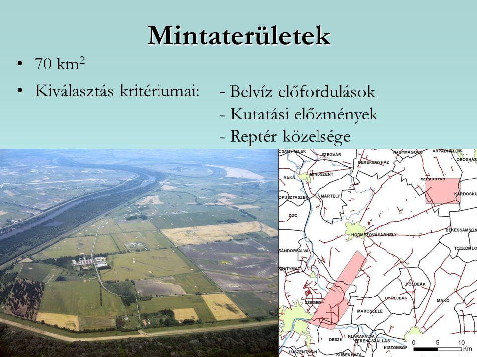 Mintaterületek 70 km2 Kiválasztás kritériumai: - Belvíz előfordulások