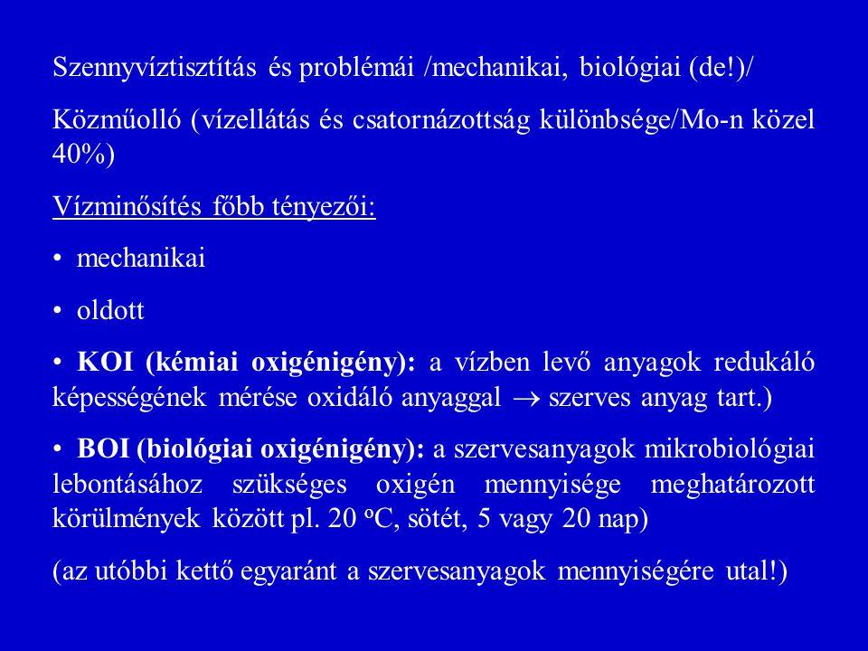 Szennyvíztisztítás és problémái /mechanikai, biológiai (de!)/