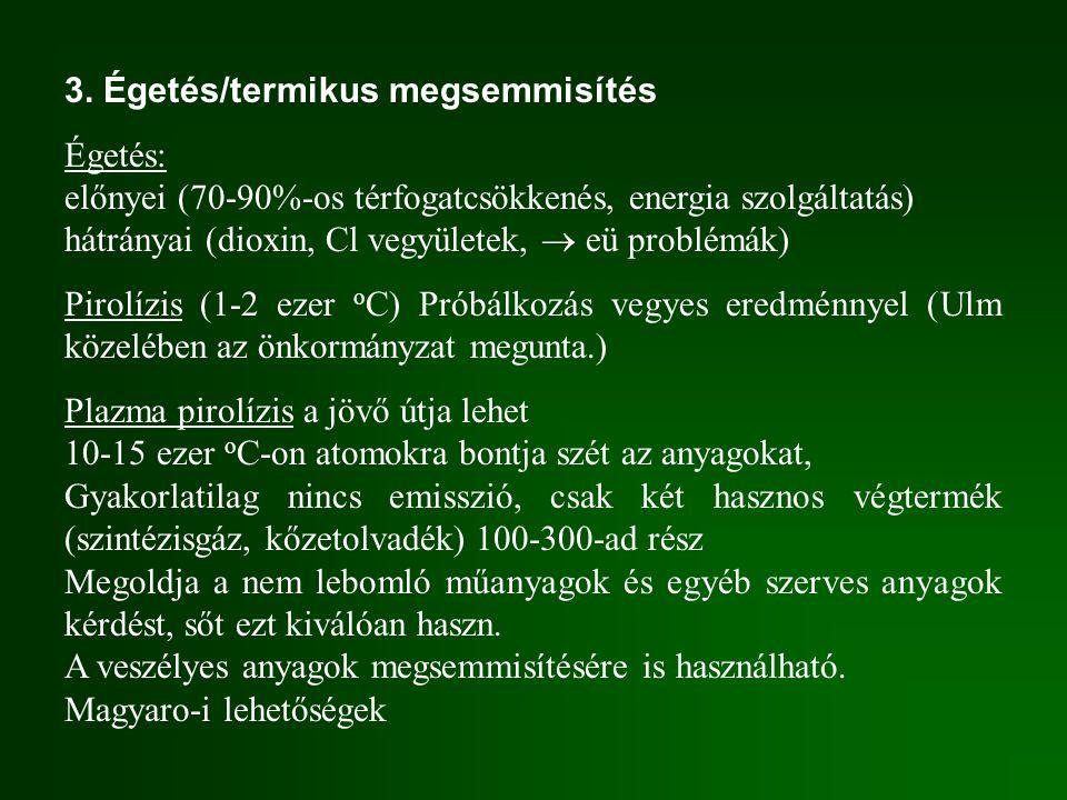 3. Égetés/termikus megsemmisítés