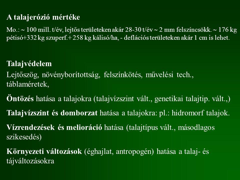 Talajvízszint és domborzat hatása a talajokra: pl.: hidromorf talajok.