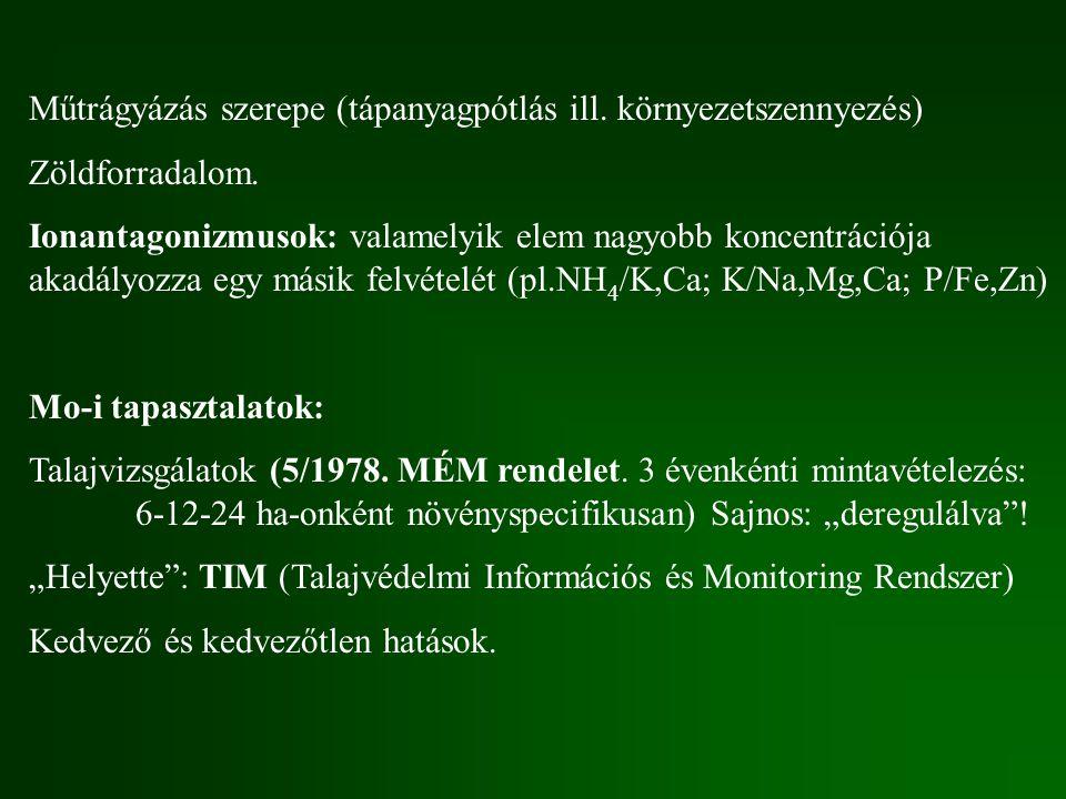 Műtrágyázás szerepe (tápanyagpótlás ill. környezetszennyezés)