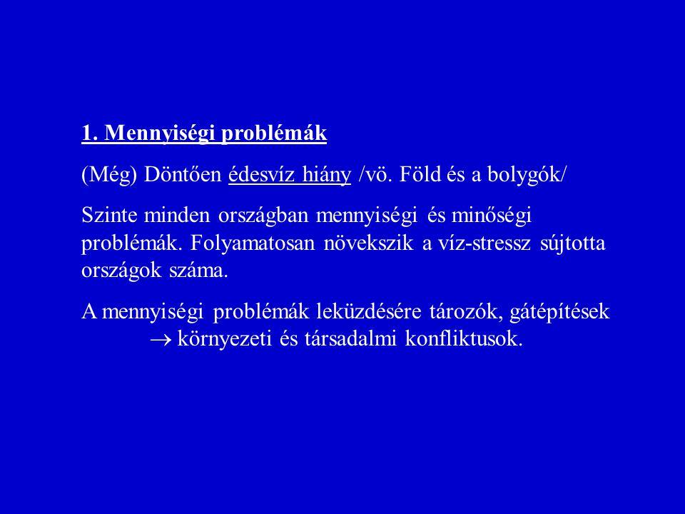1. Mennyiségi problémák (Még) Döntően édesvíz hiány /vö. Föld és a bolygók/