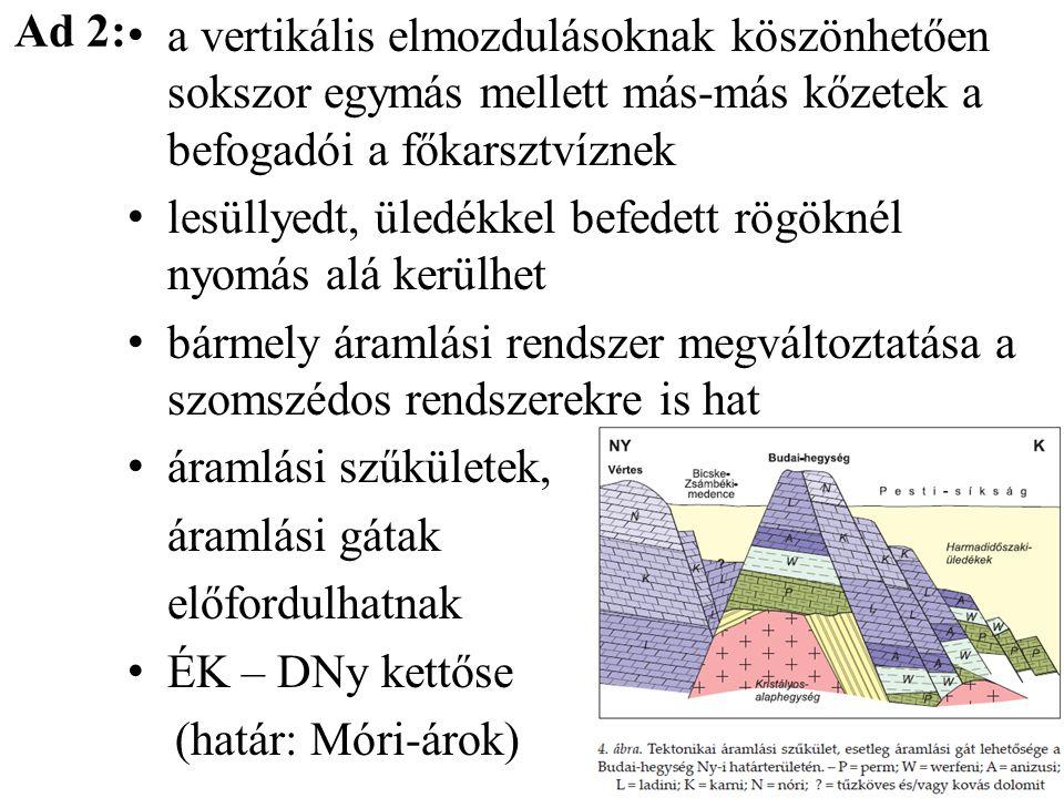 Ad 2: a vertikális elmozdulásoknak köszönhetően sokszor egymás mellett más-más kőzetek a befogadói a főkarsztvíznek.