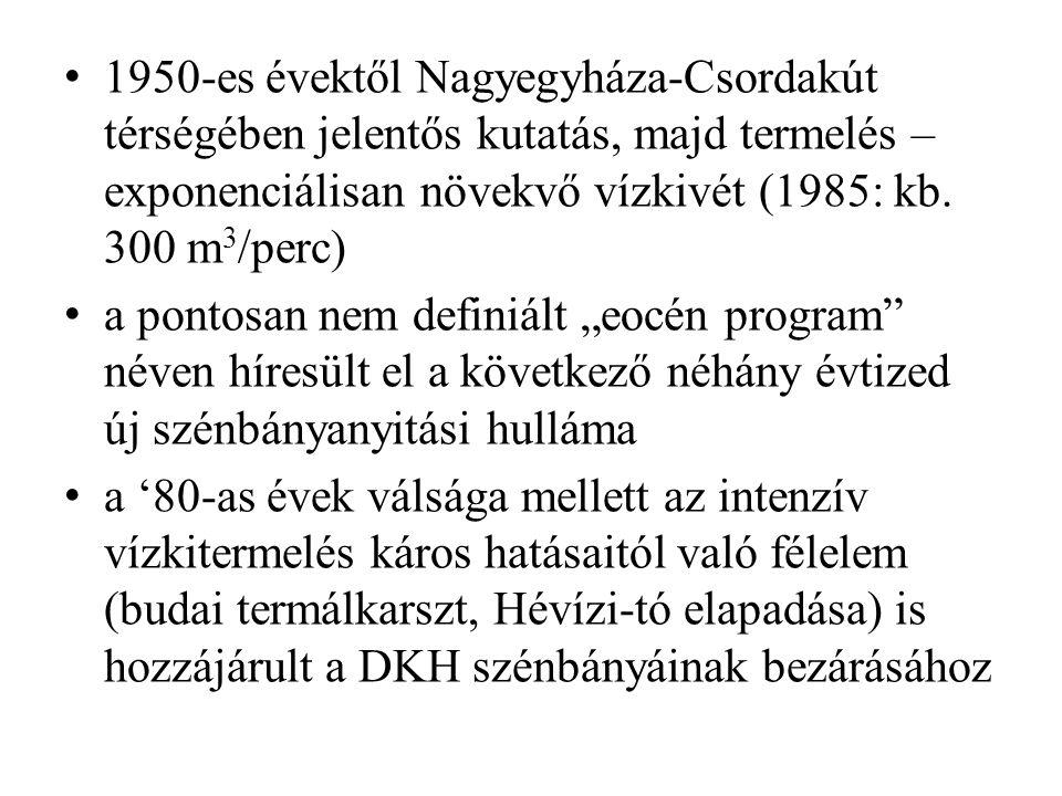 1950-es évektől Nagyegyháza-Csordakút térségében jelentős kutatás, majd termelés – exponenciálisan növekvő vízkivét (1985: kb. 300 m3/perc)