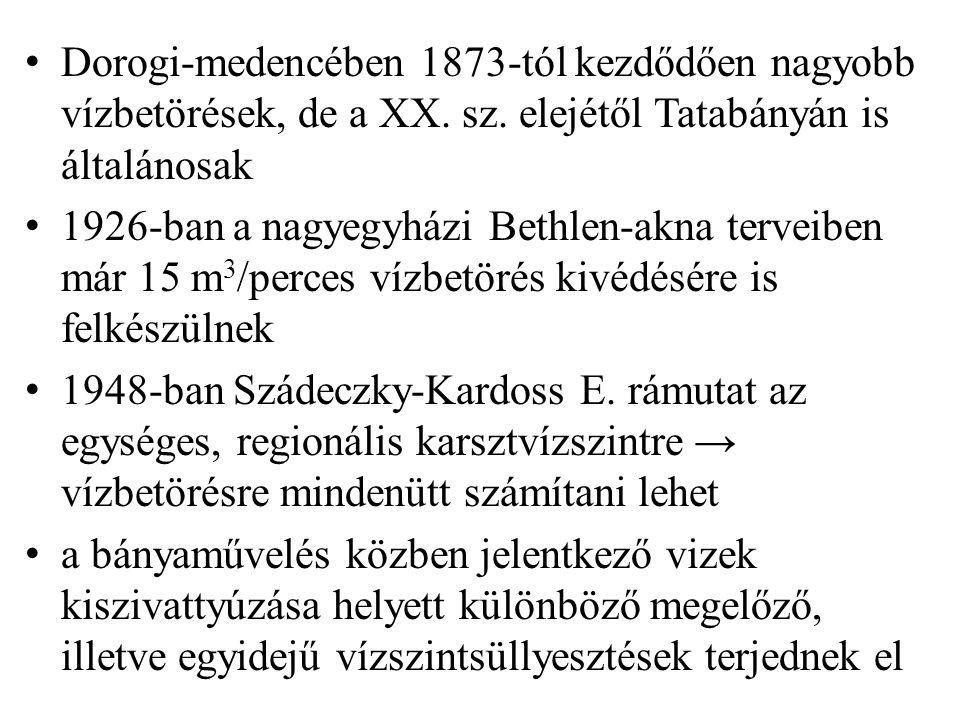 Dorogi-medencében 1873-tól kezdődően nagyobb vízbetörések, de a XX. sz