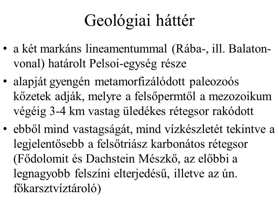 Geológiai háttér a két markáns lineamentummal (Rába-, ill. Balaton-vonal) határolt Pelsoi-egység része.