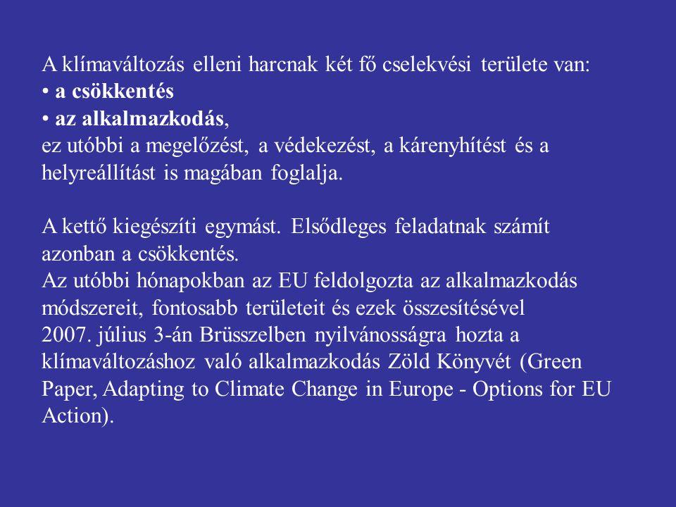 A klímaváltozás elleni harcnak két fő cselekvési területe van: