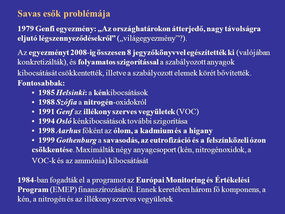 """Savas esők problémája 1979 Genfi egyezmény: """"Az országhatárokon átterjedő, nagy távolságra eljutó légszennyeződésekről (""""világegyezmény )."""
