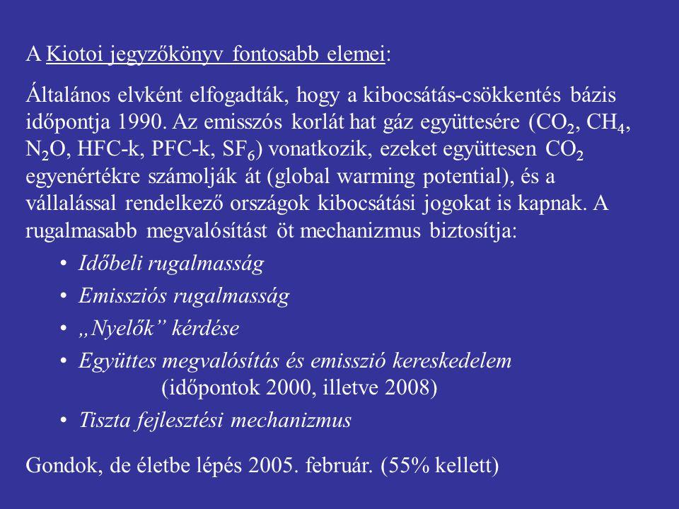 A Kiotoi jegyzőkönyv fontosabb elemei:
