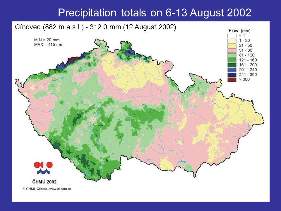 Precipitation totals on 6-13 August 2002