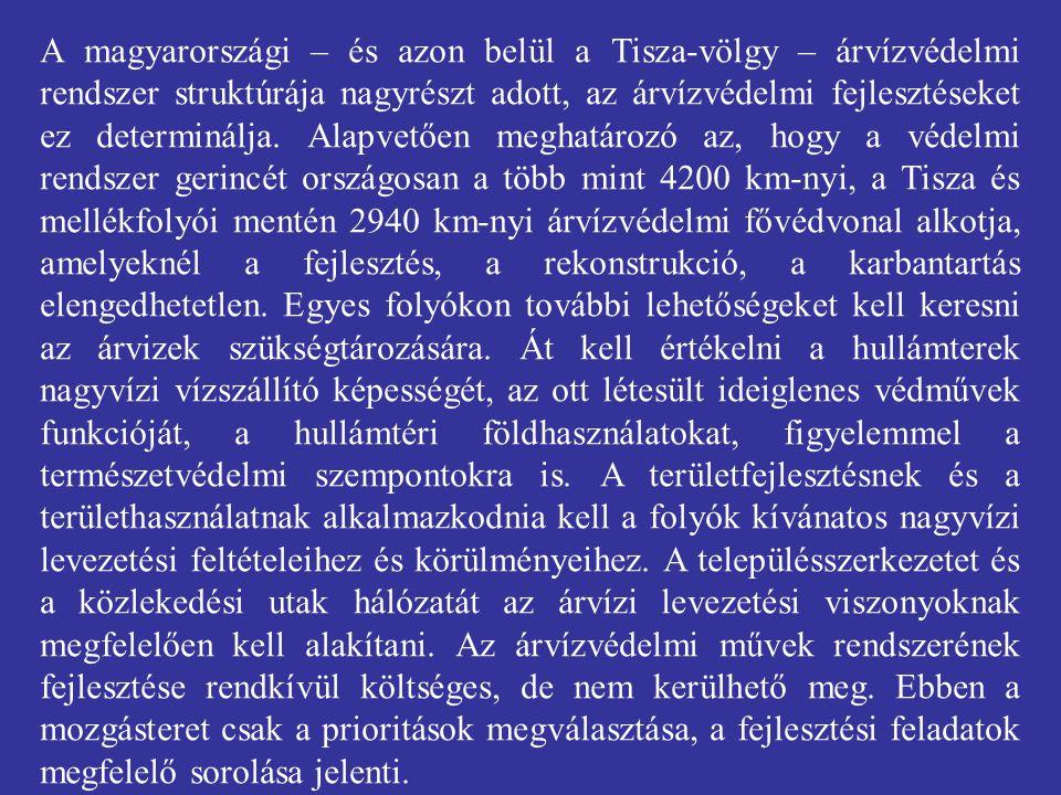 A magyarországi – és azon belül a Tisza-völgy – árvízvédelmi rendszer struktúrája nagyrészt adott, az árvízvédelmi fejlesztéseket ez determinálja.