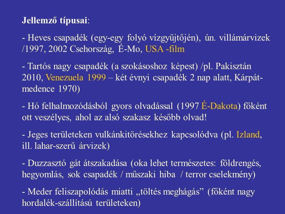 Jellemző típusai: Heves csapadék (egy-egy folyó vízgyűjtőjén), ún. villámárvizek /1997, 2002 Csehország, É-Mo, USA -film.