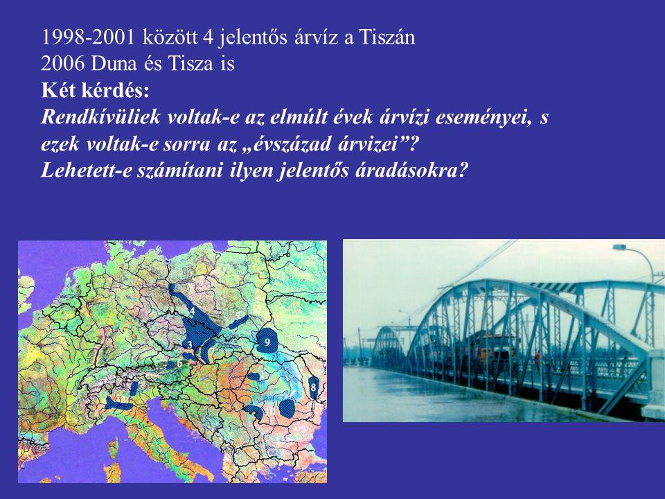 1998-2001 között 4 jelentős árvíz a Tiszán 2006 Duna és Tisza is