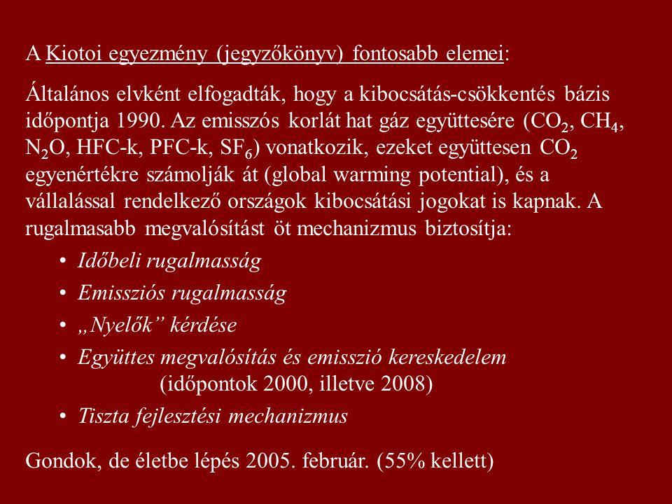 A Kiotoi egyezmény (jegyzőkönyv) fontosabb elemei: