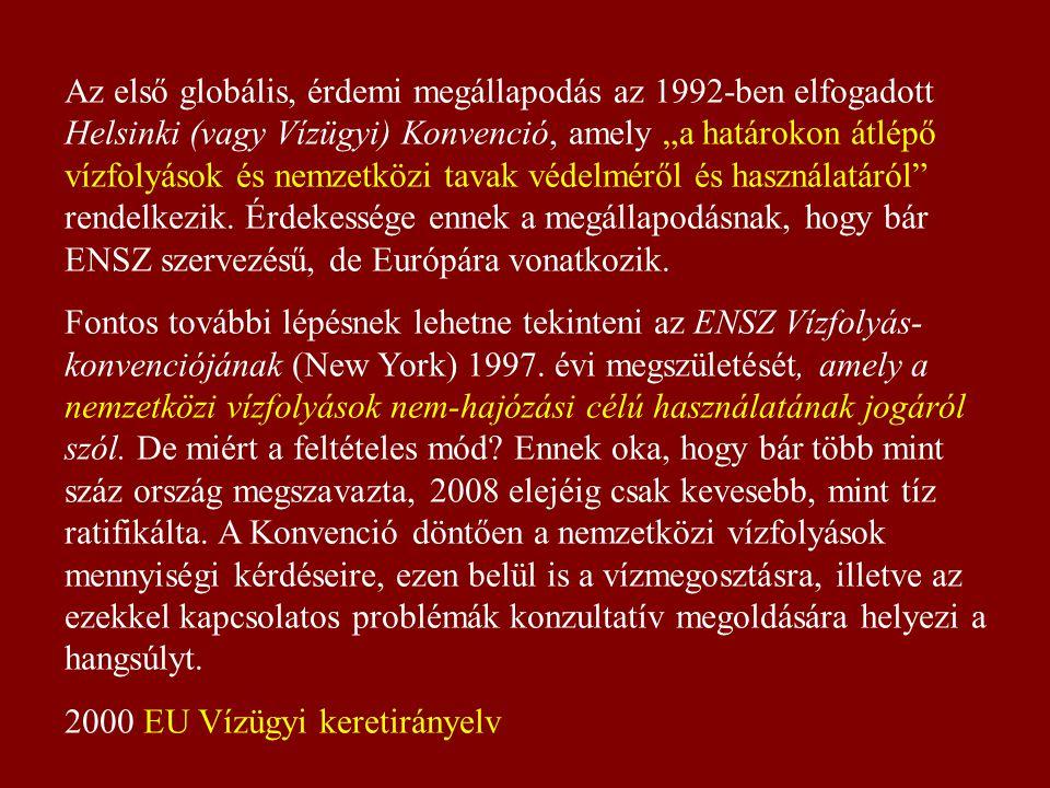 """Az első globális, érdemi megállapodás az 1992-ben elfogadott Helsinki (vagy Vízügyi) Konvenció, amely """"a határokon átlépő vízfolyások és nemzetközi tavak védelméről és használatáról rendelkezik. Érdekessége ennek a megállapodásnak, hogy bár ENSZ szervezésű, de Európára vonatkozik."""