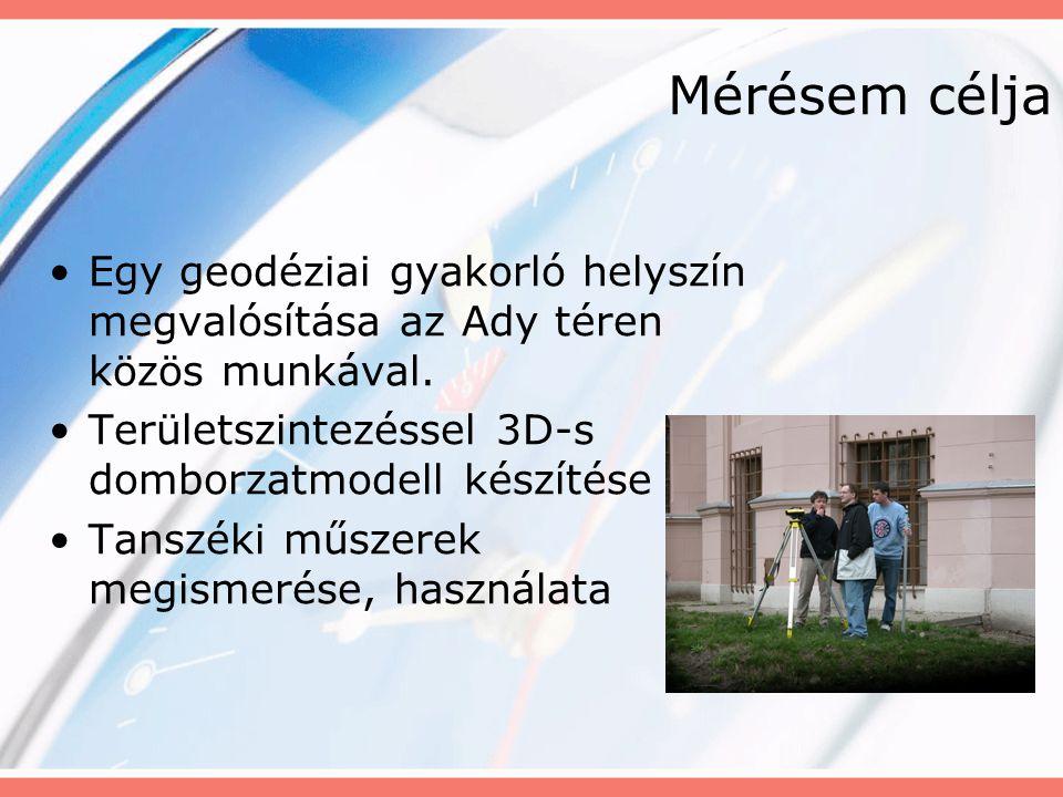 Mérésem célja Egy geodéziai gyakorló helyszín megvalósítása az Ady téren közös munkával. Területszintezéssel 3D-s domborzatmodell készítése.