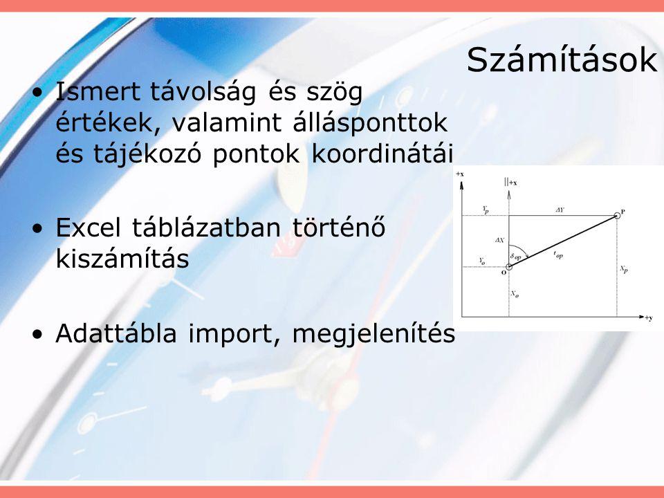Számítások Ismert távolság és szög értékek, valamint állásponttok és tájékozó pontok koordinátái. Excel táblázatban történő kiszámítás.