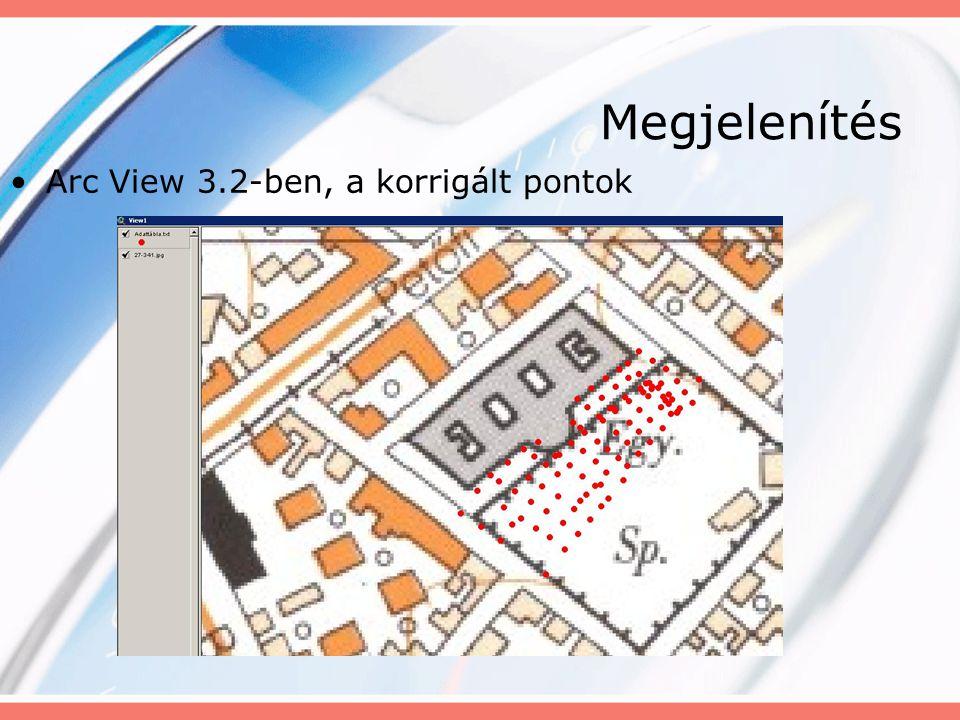 Megjelenítés Arc View 3.2-ben, a korrigált pontok