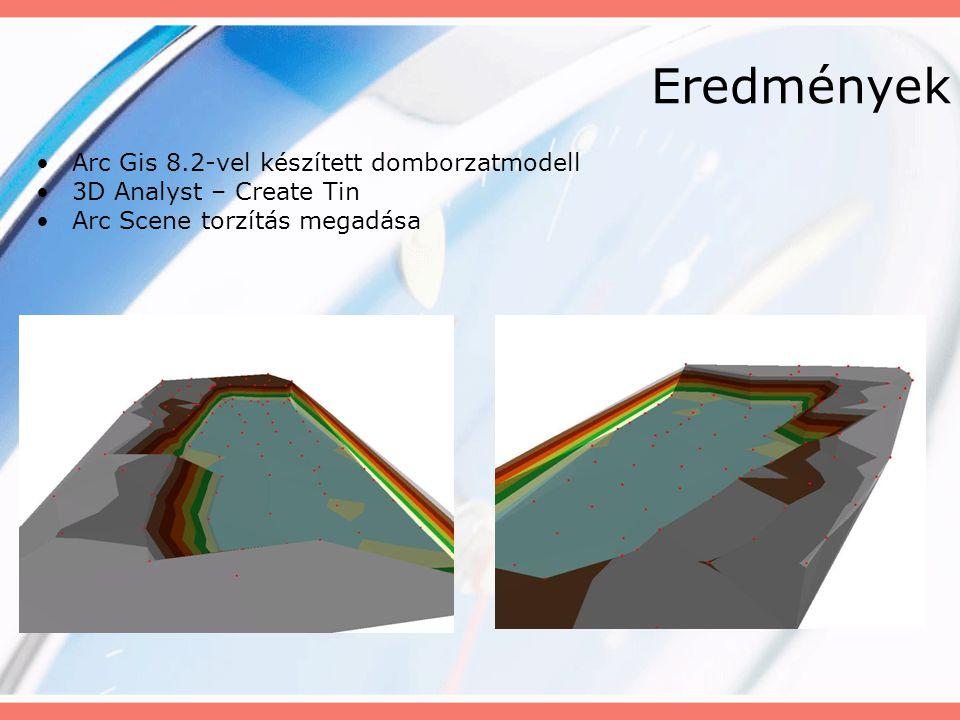 Eredmények Arc Gis 8.2-vel készített domborzatmodell