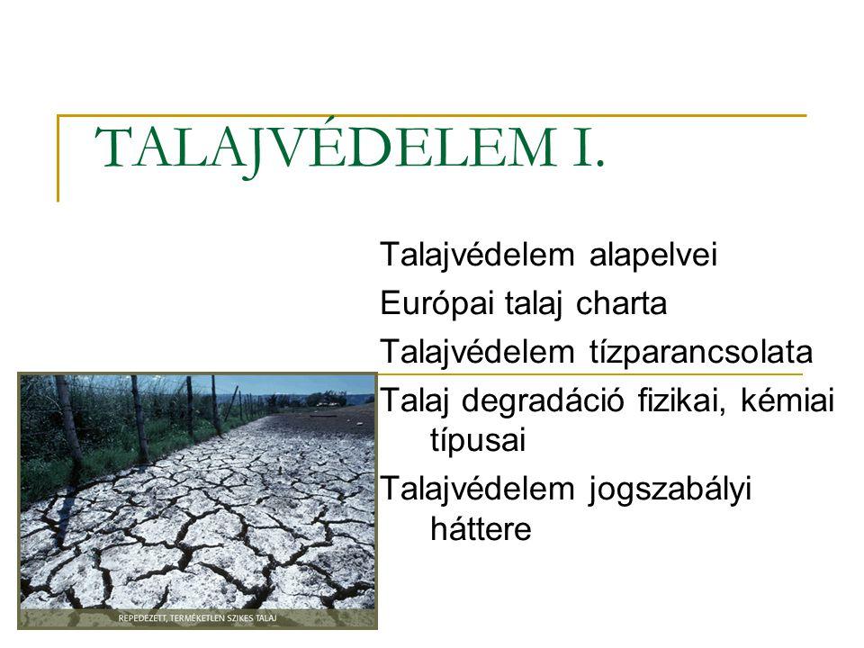 TALAJVÉDELEM I. Talajvédelem alapelvei Európai talaj charta