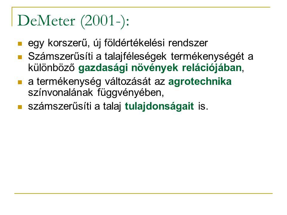 DeMeter (2001-): egy korszerű, új földértékelési rendszer